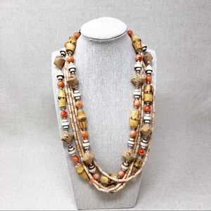 Vintage Multi Strand Wood Beaded Necklace Coral